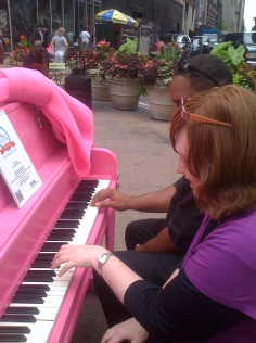 Isaac Mizrahi's Pink Piano in Greeley Square, NYC ~ Sing-For-Hope Project, June 2011
