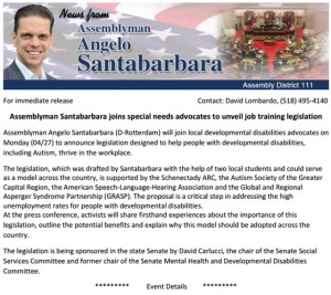 Click to view Assemblyman Angelo Santabarbara's Press Release.