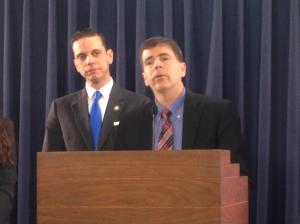 Kirk Lewis, Executive Director of Schenectady ARC at press conference with Assemblyman Santabarbara for  A.5141 (Santabarbara) and S.4256 (Carlucci)