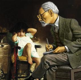 Freud observing autistic girl case study. Artwork by HennyK.com